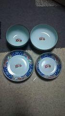 有田焼 茜峰〜青磁香梅ホームセット♪4種類の皿や茶碗5枚入り♪未使用