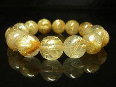高級オラオラ数珠 タイチンルチルクォーツブレスレット 14ミリ パワーストーン