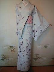 オトナカワイイ紫華小紋正絹袷158チョー美品レタP