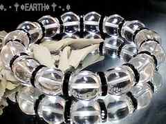 天然石★12ミリ高級天然水晶AAAクリスタル黒ロンデルオラオラ数珠