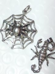 SILVER 925 シルバー 蜘蛛 蠍 スパイダー スコーピオン ネックレス ペンダント トップ