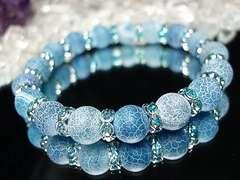 フロストマリンブルー色ドラゴンアゲート約10ミリロンデル数珠
