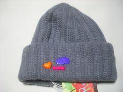 wb673 ROXY ロキシー ウール ニット帽 ビーニー 灰