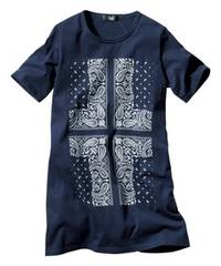 5Lサイズ!半袖チュニックTシャツ!綿100%優しい肌触り!新品エレガンスなバンダナ柄