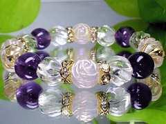 可愛い◆薔薇彫ローズクオーツ・アメジスト・トルネ-ド水晶◆人気天然石