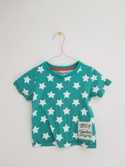 ミントに白の星のTシャツ95