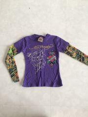 Ed キッズ size4 袖タトゥー風 Tシャツ パープル