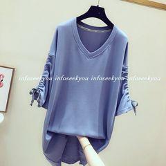 LL3L4L大きいサイズ/袖くしゅ~VネックTシャツ/ブルー