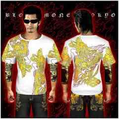 送料無料ヤクザ&悪羅悪羅系/オラオラ系昇り龍柄半袖Tシャツ服/14001白-XL