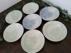 【新品未使用/即決】小花柄和食器★深皿7枚セット☆グリーン&ブルー