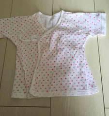 新生児から使える短肌着ピンクのハート柄 新品 出産準備!女の子