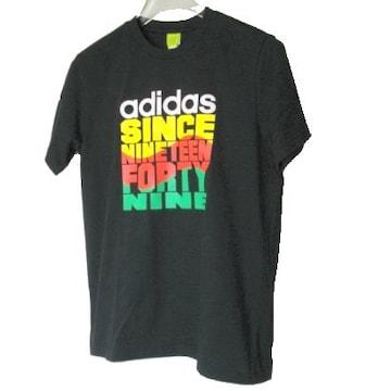 新品◆送料無料◆アディダス 黒デザインロゴTシャツ(M)