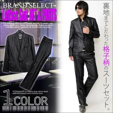 (送料無料)格子柄ブラック1Bセットアップスーツ新品S
