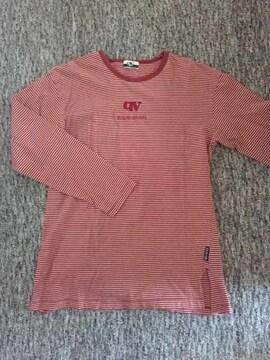 赤×白 細ボーダー 長袖UネックTシャツ M 綿100%