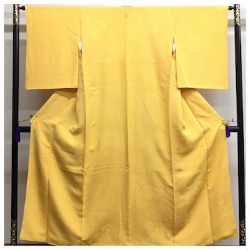 上質 正絹 美品 高級呉服 色無地 一つ紋入り 袷 黄色 中古品