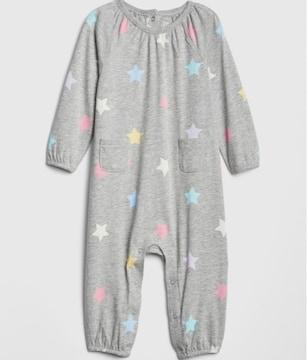 新品 babyGAP☆60 スター柄 ロンパース グレー ベビー服 ギャップ