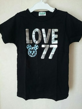 K.L.C*☆*LLブラック半袖Tシャツ黒LOVE77
