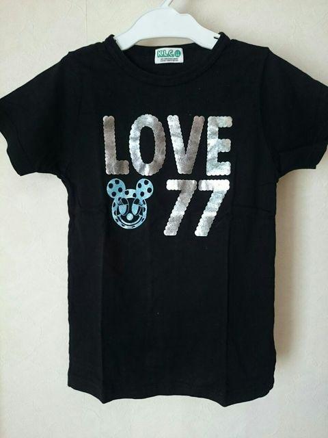 K.L.C*☆*LLブラック半袖Tシャツ黒LOVE77  < ブランドの