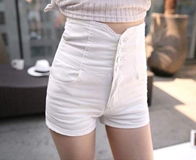 ハイウエスト ストレッチ デニムショートパンツ(L寸・白) < 女性ファッションの