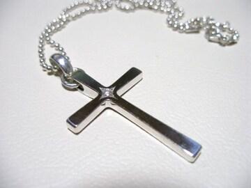 仁尾彫金『一つ星ダイヤシルバークロス』