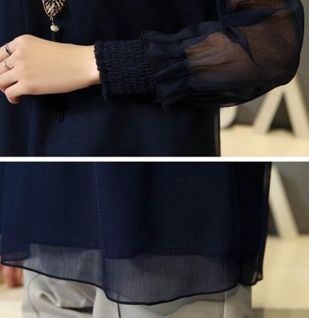シフォン 長袖 シースルー フォーマル ブラウス L (白)入園式 < 女性ファッションの