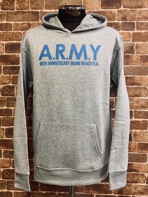 表記XL ミリタリープリント ARMY 霜降りグレー 灰色 パーカー 水色 アメカジ < 男性ファッションの