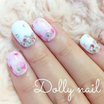 みぢょ!チビ爪ベリショふんわり薔薇ローズ柄マーブル/ピンク/ホワイト/スワロジェル