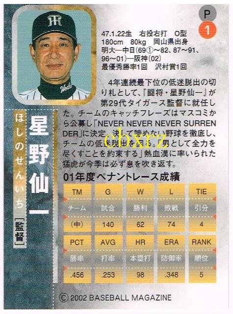 BBM2002 星野仙一 プロモーションカードP1 < トレーディングカードの