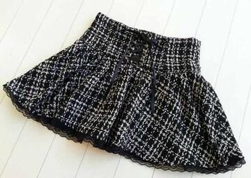 【送料無料】リボン編み上げ♪ツィードミニフレアスカート★チェック柄♪ブラック☆M