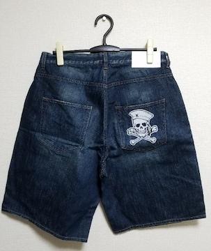 ★送料無料★KRHYME DENIM★スカル刺繍/ショートデニムパンツ★ウォッシュブルー 34