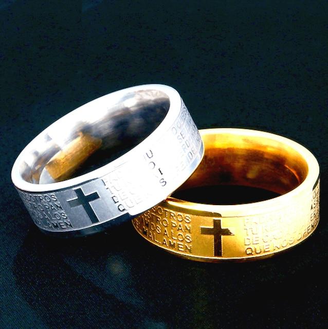 特A品 新品1円〜★送料無料★28号 彫刻聖書刻印ゴールドリング十字架