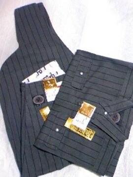 鳶カセヤマ【経縞グレー】手甲シャツL超超ロング81cm