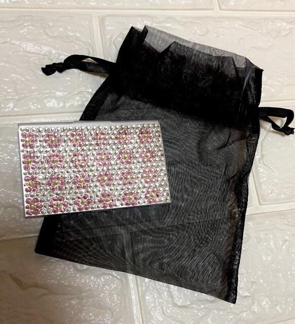 新品【ハンドメイド】スワロフスキー花柄デコ名刺ケース名刺入れ  < 女性ファッションの