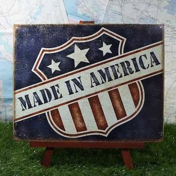 新品【ブリキ看板】USA/アメリカ合衆国 Made in America