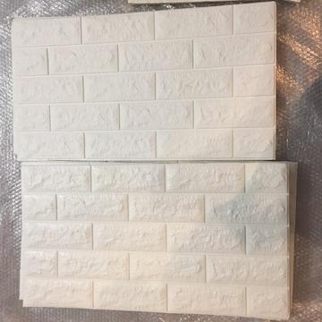 ホワイト レンガ 壁紙 DIY 白 壁 クッション ブリック