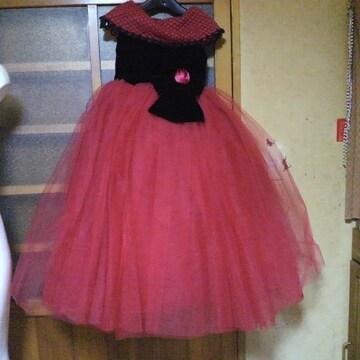 キッズ赤×黒 ロングドレス 7歳用 七五三・お祝い等に