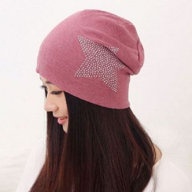 【人気上昇中】  ニット帽 ワイン ラインストーン コットン < 女性ファッションの
