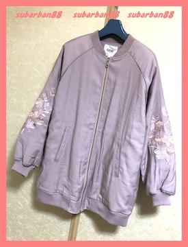 ☆オゾック☆美品♪花刺繍バルーン袖中綿入りロングMA-1L☆