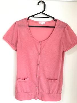 ピンク 半袖カーディガン リボン Lサイズ