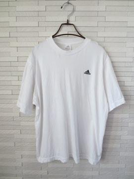 即決/adidas/メンズ半袖丸首Tシャツ/ワンポイントロゴ刺繍/白/M