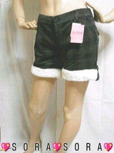 可愛いもこもこボア付バックフラポケコーデュロイチェック柄ショーパン  < 女性ファッションの
