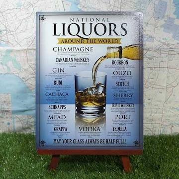 新品【ブリキ看板】Liquors/リキュール 世界のお酒