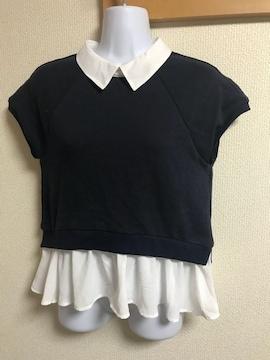 ★ANDEMIU ネイビー×白 裾シフォンカットソー  F★