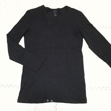 【used】丸首長袖コットンTシャツ/H&M/メンズM/黒