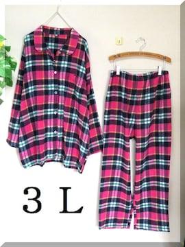 新作☆大きいサイズ☆3L☆ピンク系チェック☆パジャマ上下SET☆