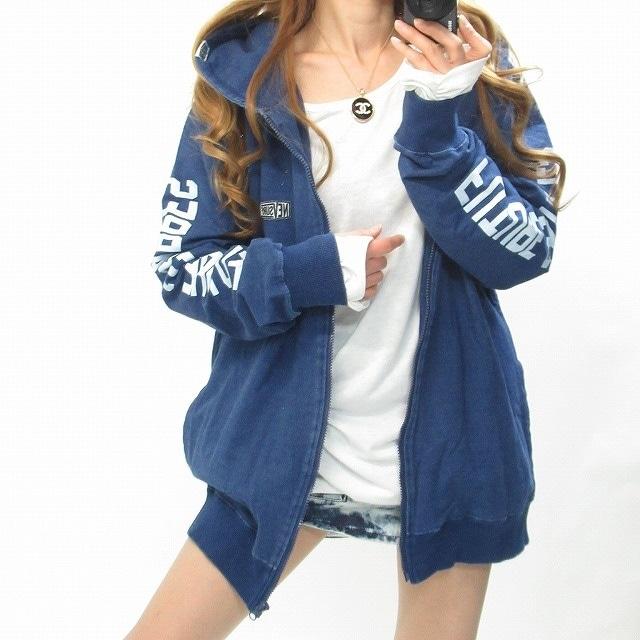 NEW最新デニムパーカー袖ロゴBIGフード/ユニセックス3826 < 女性ファッションの