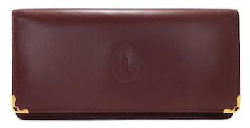 美品正規カルティエマストライン二つ折り長財布L3000466レザー
