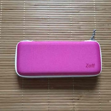 zoff・メガネチャーム付メガネケース&クロス。ピンク