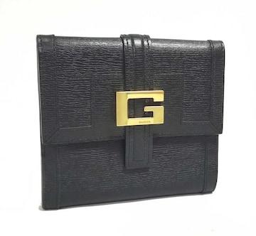 正規美品グッチ財布二つ折りレディースブラック黒両面財布