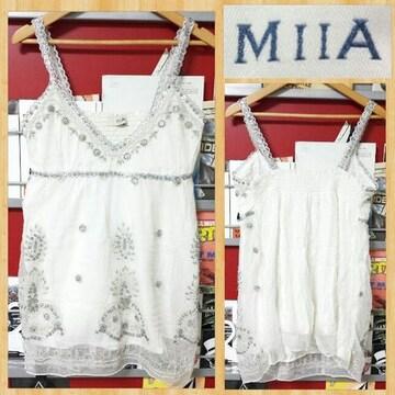 MIIA ミーア キャミソール スパンコール ビーズ 刺繍